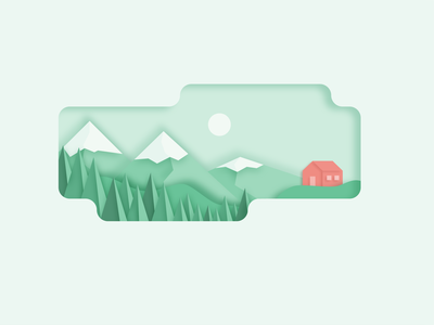 Salmon House vector branding canyon design clean shadow dropshadow cutout salmon orange red mountain landscape monochromatic green illustration