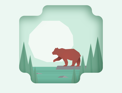Bear 2.o shadow gradient angles sharp square red outdoors outsides bear green monochromatic clean
