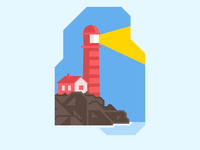 Light House shore ocean lighthouse logo birds anderson aiden sexy simple clean interface slick geometric sharp simple yello blue bright red rocks illustration design lighthouse