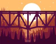 Sun Bridge shadows simple poster monochromatic canyon red design clean illustration