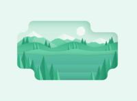 Green Landscape illustration professional next level affordable skilled drop gradients clean shadows paper landscape green