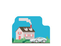 House with Sports Car inspiration practice bushes clean ui geometric design illustration clean