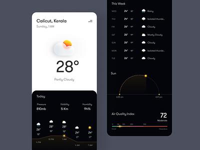 Weather app dark UI illustration ill weather app dark ui dark mobile dark mode icons design mobile ui mobile app ux ui minimal
