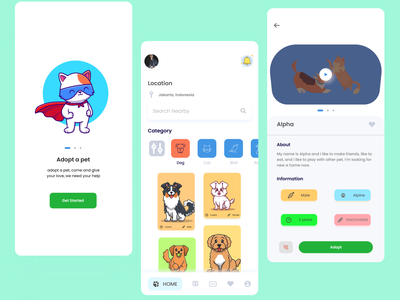 Pet Adoption App mobile app mobile design mobile ui exploration pet adoption pet care pet design mobile app design uiux ui