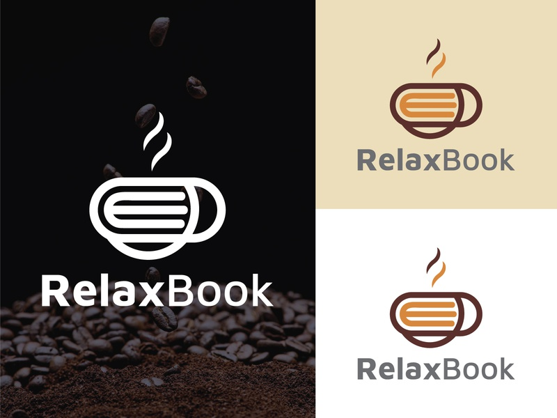 Relax Book- Coffee Shop Logo design Branding typography best construction logos 2020 design logo debutshot brewing coffee coffee identity turbo coffee coffee house coffee roaster relax coffee logodesign branding coffee