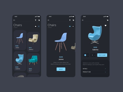 Chairs user interface adobe xd dark theme dark ui flat ux ui chairs furniture store furniture
