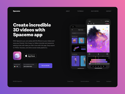 Landing Page - 003 teaser website daily ui 003 dailyuichallenge dailyui dark theme ui landing page figma design spacemo entertainment video editing video 3d figma adobe xd