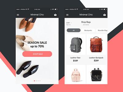 Minimal Chic e-shop e-commerce xd adobe xd adobe experience ux ui ui kit free freebie fashion minimal