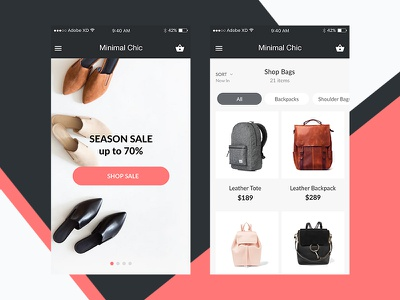 Minimal Chic e-shop e-commerce xd adobe xd adobe experience ux ui ui kit free freebie fashion minimal