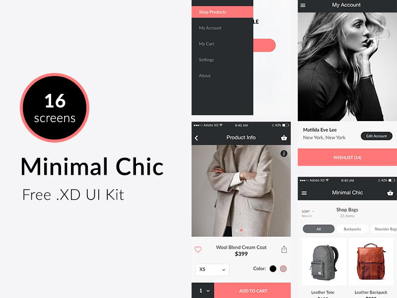 Minimal Chic - Free UI Kit  e-shop e-commerce xd adobe xd adobe experience ux ui ui kit free freebie fashion minimal