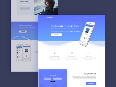 Responsive Landing Page baseline grid showcase presentation mobile product responsive ui marketing feature product ios landing page