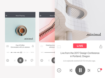 Podcast Player Screen  minimal ui ux simple monochrome ios episodes live player music audio podcast
