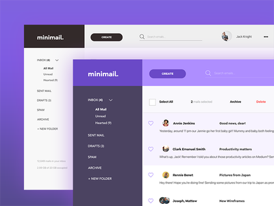 ✉️ minimail.  daily ui conversations layout ux ui minimal purple email letters dashboard mail
