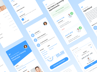 Luxrejuve design system clinic appointments booking user interface aesthetics beauty medical medicine app ios app adobe xd ui kit design minimal ux ios ui