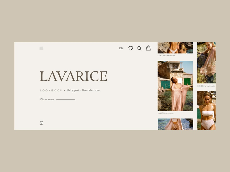 First screen of an online clothing store aesthetic branding ux ui typography type minimal design