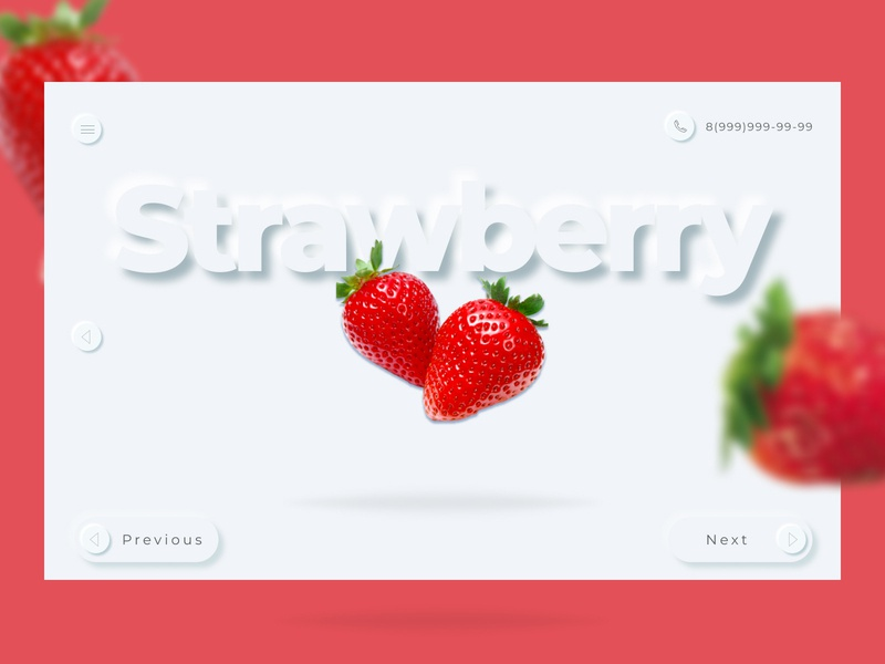 The concept of website strawberry strawberry neomorphism concept branding ui ux typography type minimal design