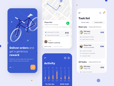 Velonto Food Delivery - Rider mobile app startup notification tracking rider concept service application restaurant interface search order ui ux figma sketch platform food delivery product design mobile arounda