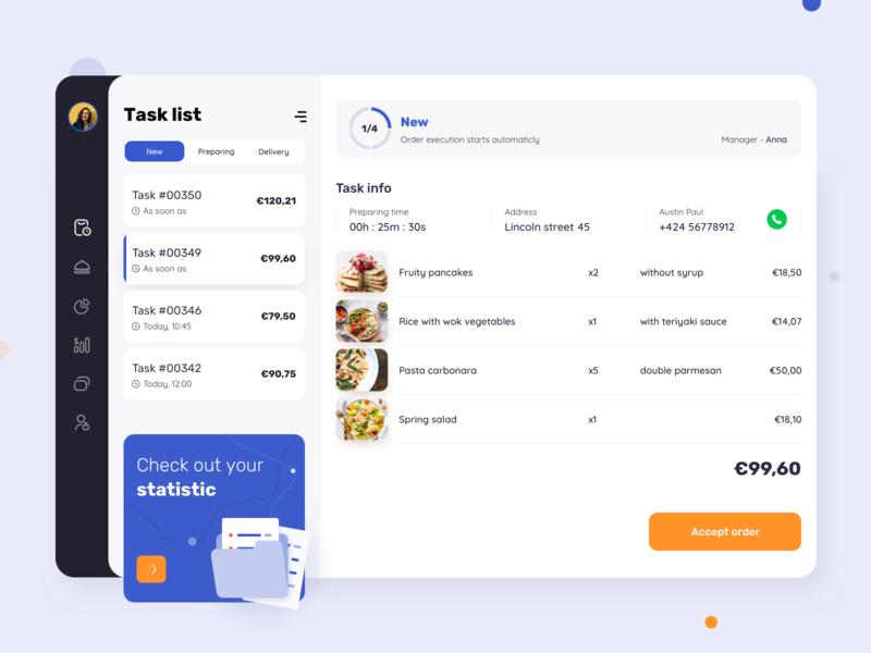 Velonto food delivery - Restaurant admin panel startup tracking dashboard concept service application restaurant interface search order ui ux figma sketch platform food delivery product design mobile arounda