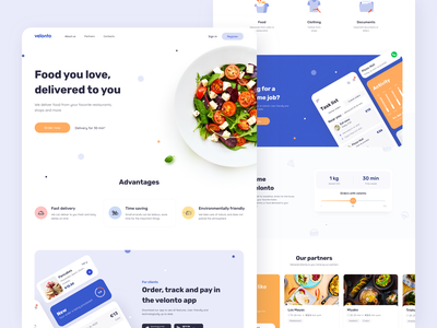 Velonto food delivery - Landing page startup tracking landing page concept service marketing restaurant interface search order ui ux figma sketch platform food delivery product design mobile arounda