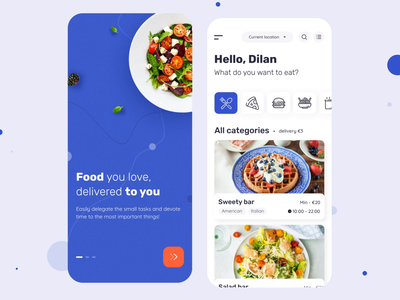 Velonto Food Delivery - Client`s mobile app startup notification tracking motion concept service application restaurant animation search order ui ux figma sketch platform food delivery product design mobile app arounda