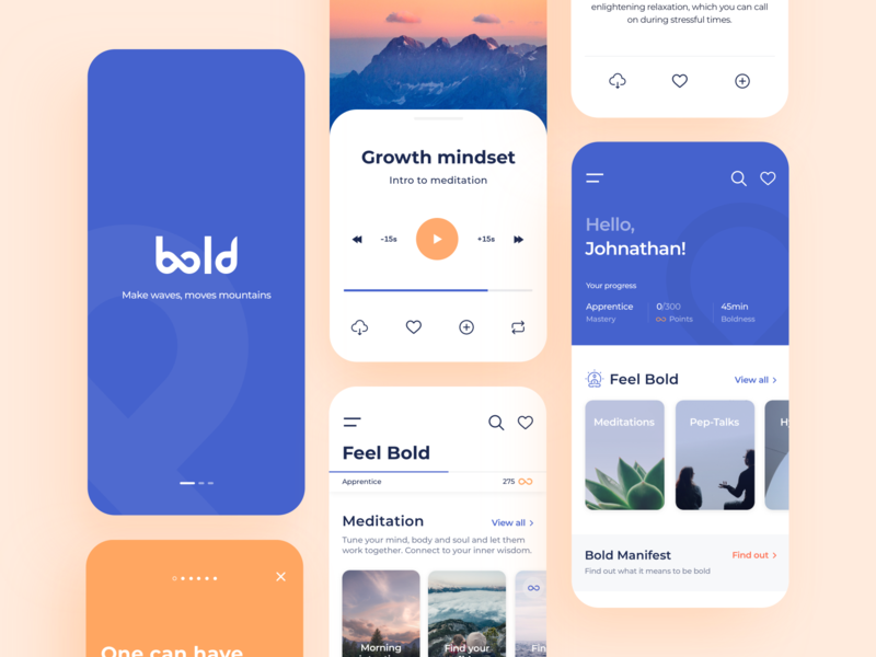 Bold - Mobile app pep-taks podcast yoga calm typography color ratio concept onboarding player ui ux figma sketch health meditation product design mobile app arounda