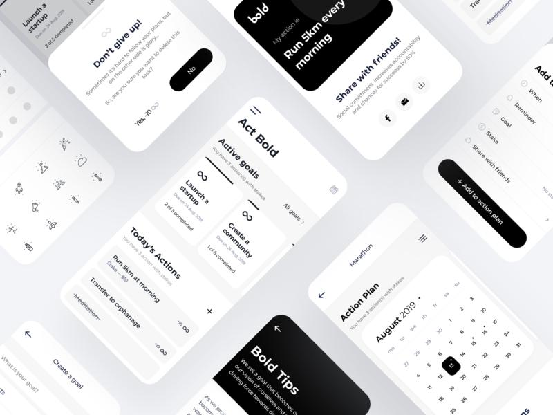Bold - Wireframes Mobile app tasks podcast yoga calm typography color ratio goals schedule calendar ui ux figma sketch health meditation product design mobile app arounda