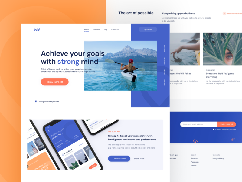 Bold - Landing page bold calm typography color ratio concept ui ux figma sketch health mockups meditation golden grid landing page product design web page web design arounda