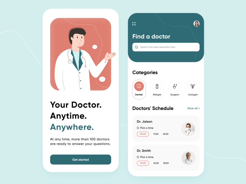 Personal Doctor - Mobile App ux application minimal colors bright illustration search icons schedule categories medicine pills health doctor illustrator figma mobile app design concept arounda