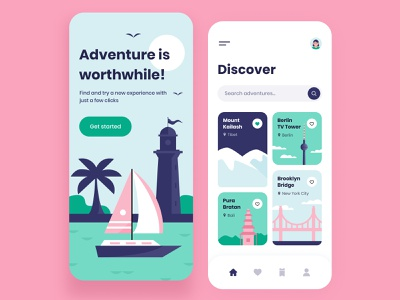 Adventure - Mobile App ui ux application gallery colors bright illustration search relax vacation categories onboarding travel adventure interface figma mobile app design concept arounda