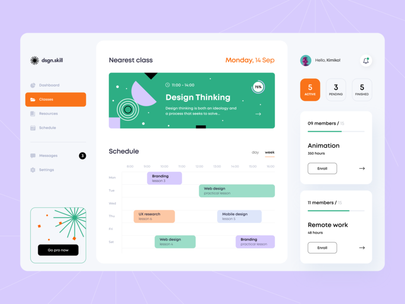 Design Classes - Web App palette remote icons course education application illustration figma interface dashboard admin panel admin schedule ux ui balance app web concept arounda