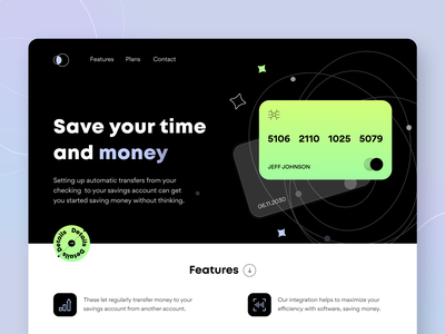 Money Saving - Landing page ui ux startup saas product design payment notification fintech bank app money illustration figma interface bank card landing finance web site concept arounda