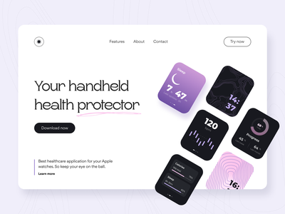 Health protector - Landing page ui ux workout sport apple watch concept landing page statistics fitness tracker pattern figma interface healthcare protector watch face health web design product design arounda