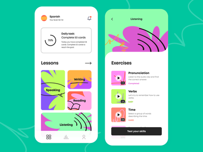 Language Learning - Mobile app card graph bar palette task lessons illustration icons interface schedule courses ui ux figma progress language education product design mobile design arounda