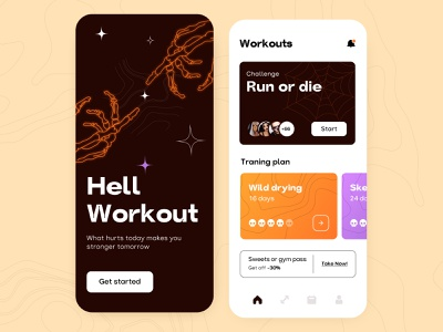 Hell Workout - Mobile app helloween skelet design concept ios ui ux application figma schedule notifications plan challenge cards sport fitness health illustration mobile arounda