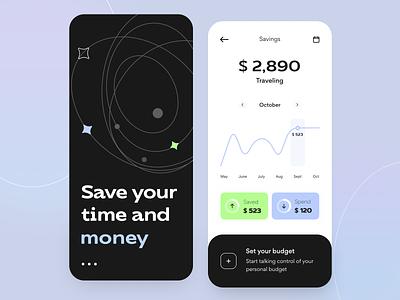 Money Saving -Mobile app ux startup graph product design statistics transaction notification fintech bank app money illustration figma interface bank save money app finance mobile app concept arounda