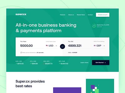 Super.cx - Website money fintech payments interface statistics analysis ui ux figma sketch platform converter exchange currency website management finance product design web design arounda