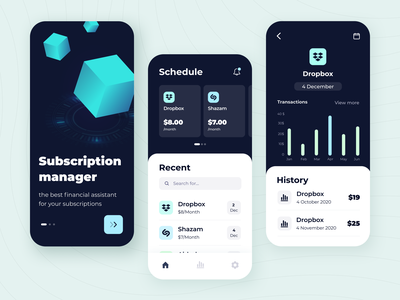 Subscription manager - Mobile app ui ux startup graph product design statistics fintech money illustration figma interface app subscription manager mobile app concept arounda