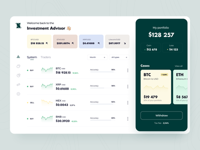 Investment Advisor - Web app saas interface dashboard graph analyst exchange stock fintech finance cryptocurrency portfolio investment statistic trading figma ui ux product design web design arounda