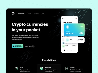Crypto Service - Landing page ui ux startup saas product design payment statistic fintech bank app money business figma interface bank card web app finance web site concept arounda
