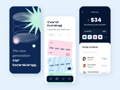 Banking - Mobile app statistic saas payment concept mobile banking finance invite transactions onboarding credit card customize referral fintech ui ux application mobile arounda