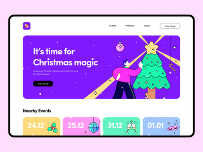 Christmas Wishlist - Landing Page desktop disco party arounda concept web wishlist new year ui ux christmas palette color illustration interface figma cards golden grid gift typography