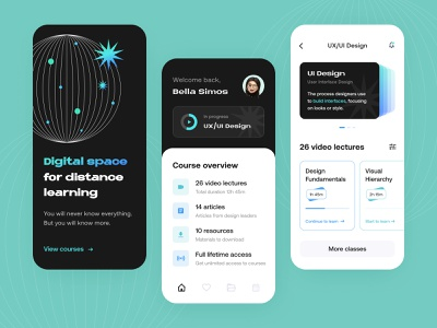 Educational platform - Mobile app ux design teaching product design online course learning platform study elearning edtech courses illustration figma interface learning platform app education mobile app concept arounda