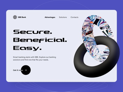 SBE Bank - Landing page ui ux startup product design statistics fintech money 3d illustration figma interface bank save money app finance landing page creative concept arounda