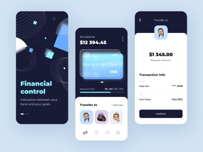 Financial control - Mobile app ui ux startup product design fintech money illustration figma interface bank save money app finance controll finance mobile app creative concept arounda