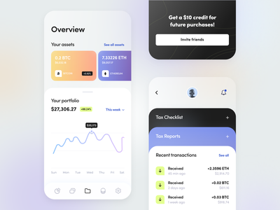 Cashtracker - Mobile app ui ux startup saas graph statistic fintech glass money business figma card transactions balance finance cryptocurrency mobile product design application arounda