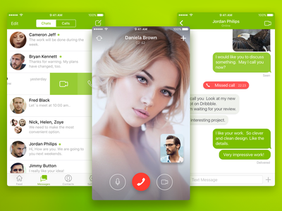 ICQ - iOS App clean ui ux design message chats call mail.ru redesign concept video chat icq