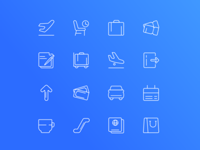 Airport - Downloadable Set of Icons icon set free icons interface airport outline fresh clean trend icons