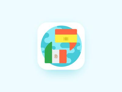 Learn Spanish - App Icon arounda spanish interface fresh clean trend ios app icon icons