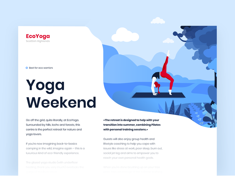 Yoga Weekend - Blog page concept clean design nature sport adobe illustrator yoga article longread blog ui illustration concept