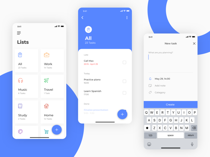 To-Do App - Task manager concept arounda illustration clean ux ui todolist todo tasks task list interface mobile design concept application app